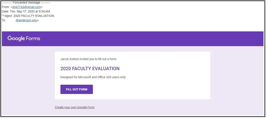 faculty evaluation phishing email