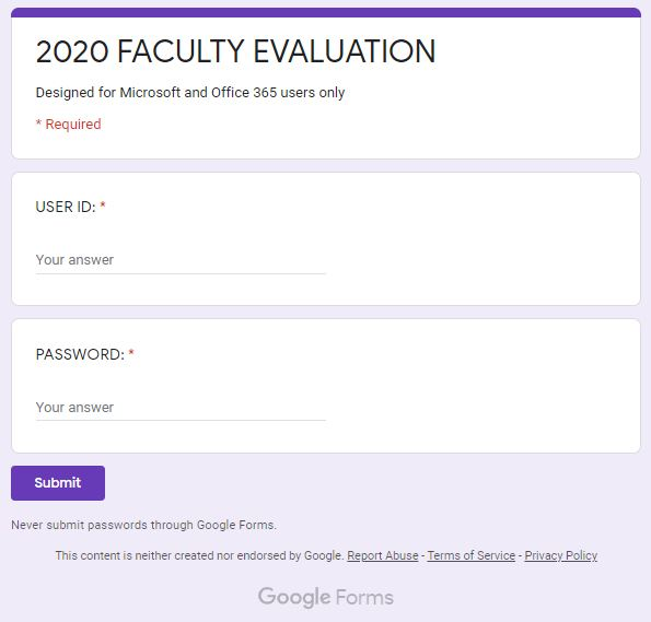 faculty evaluation phishing email sample form